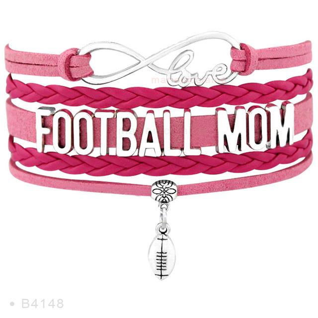 Infinity Love Football Nana Grandma Mom Dolphins Player Fans Best Friend Jewelry Mens Beads Leather Bracelets for Women