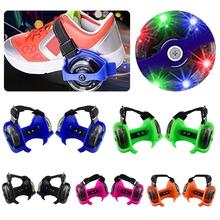 1 Pair Kids Children Outdoor Adjustable LED Flashing Wheel Heel Skate Rollers