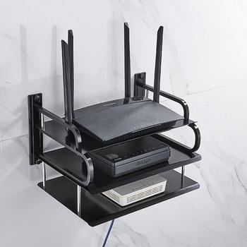 Soporte de pared de Metal negro y plateado para enrutador Wifi inalámbrico, decodificador de televisor, soporte de reproductor de DVD, soporte de teléfono, soporte de estante