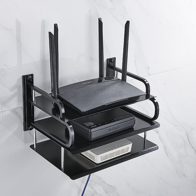 Montage mural boîtes de routeur Wifi sans fil | En métal noir et argent/boîte de décodeur TV/support de lecteur DVD/support de téléphone, support détagère