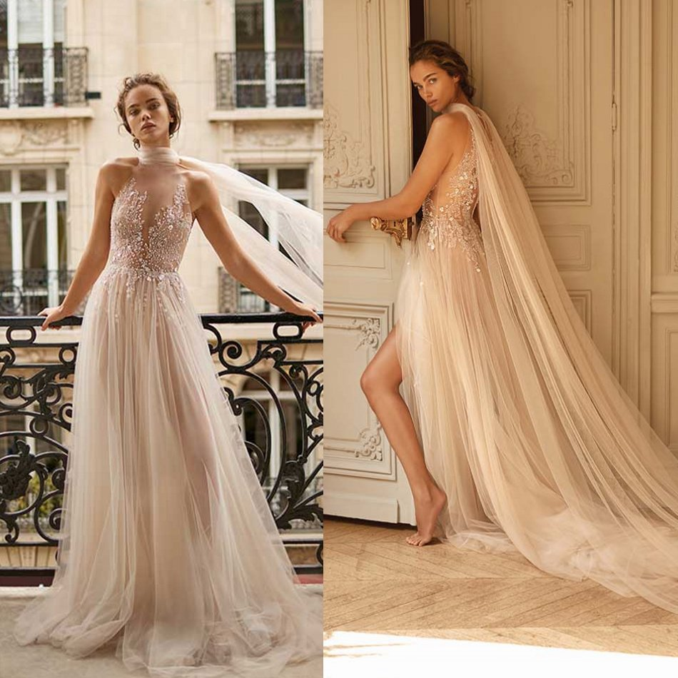 2020 Wedding Dresses Sleeveless Lace Appliques Beads Bridal Gowns Sweep Train Beach A-Line Wedding Dress