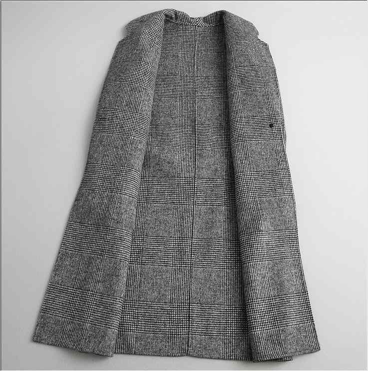 YOLANFAIRY Autunno Inverno Doppia Faccia Cappotto di Cachemire Delle Donne Lungo di Lana Plaid Caldo Giubbotti Top Qualità Abrigo Ydda01a MF645