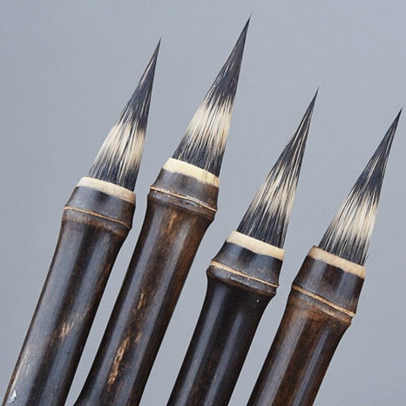 Purple Rabbit Hair Brush Pen Chinese Calligraphy Pen Ancient Bamboo Small Regular Script Writing Drawing Brush Stationery