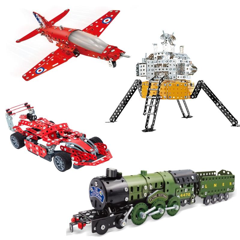 Metal Shell Compatible DIY Aircraft Train Formula Car Satellite Building Block Educational Technic Brick Construction Toy