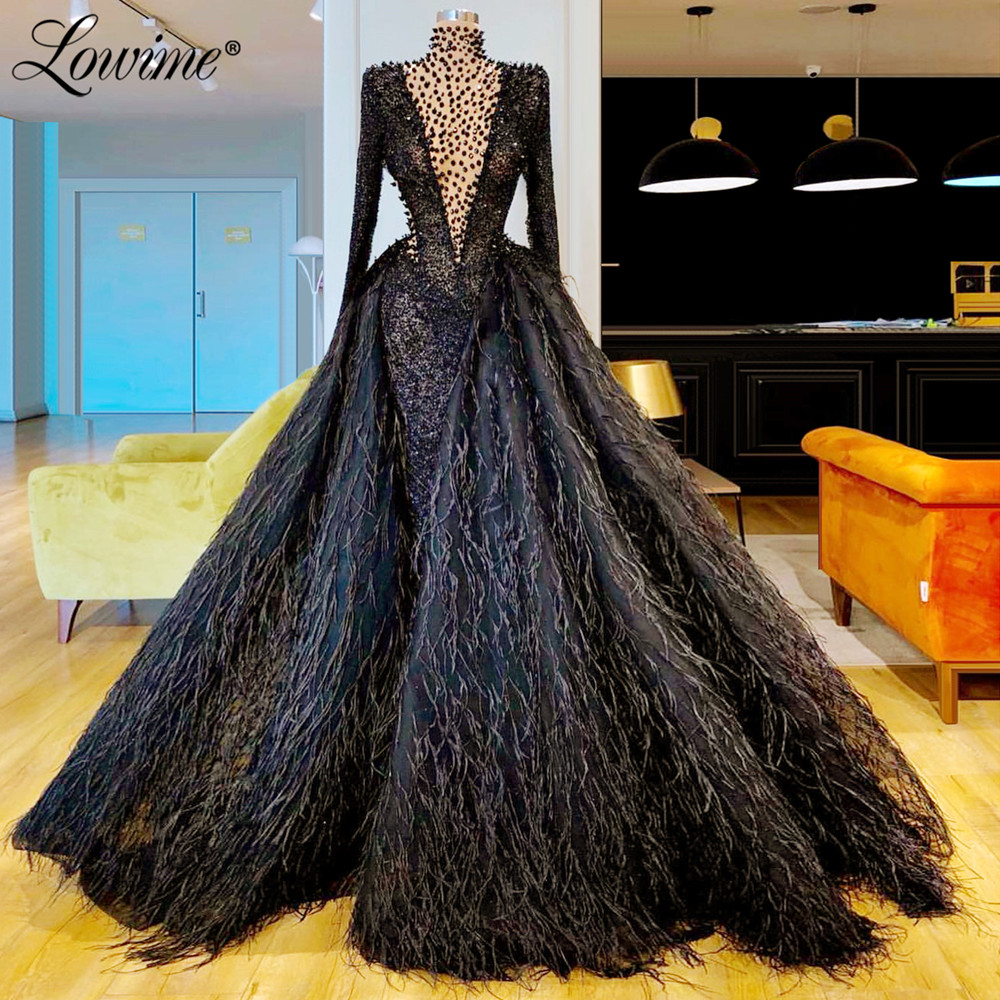 Gorgeous Saudi Arabic Black Evening Dress Long Sleeves Prom Dresses Beaded Formal Party Gowns Vestidos De Gala Abendkleider 2020