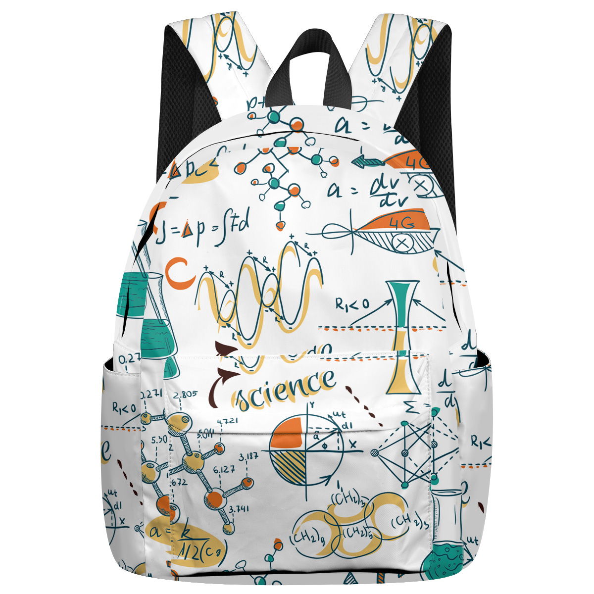 WHEREISART Science Laboratory Doodle Backpacks Laptop With Usb Charging Port Senior High School Student Internal Frame Backpacks image