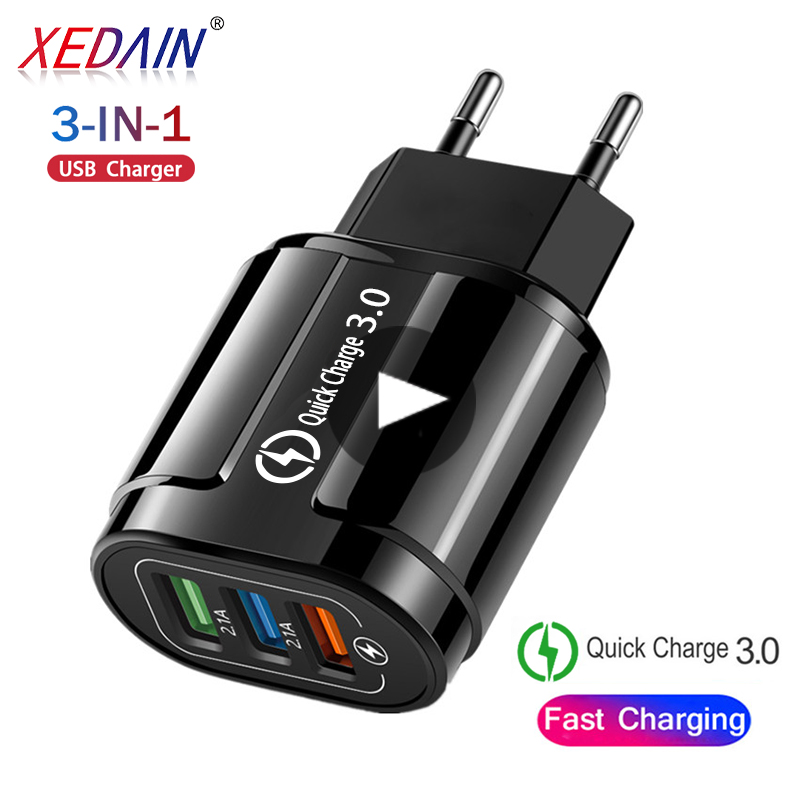 Desktop 3 Ports USB Charger for iPhone iPad Xiaomi Samung LED Light EU Plug 5V 3A Wall Adapter Mobile Phone Universal Charging(China)