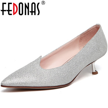 FEDONAS New Arrival Spring Summer Fine Heels Women Prom Party Pumps Point Toe Suede Leather Classic  Elegant Shoes Woman