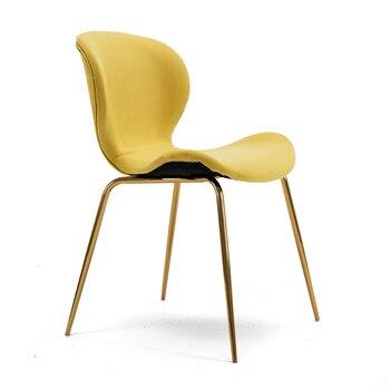 Silla nórdica de comedor moderna minimalista, silla roja con respaldo para el hogar, personalidad creativa para restaurante, Taburete Dorado para silla de ocio