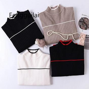 FENGGUILAI High Quality Thick Striped Women Sweater Color Block Ribbed Knitted Pullover jumper Autumn Winter Warm Female Sweater color block striped jumper