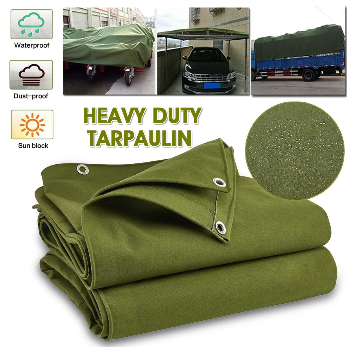 0.5mm Thick Tarpaulin Rainproof Cloth Waterproof Cover Sunshade Awning Wear-resisting Truck Car Canvas Balcony Courtyard Shade