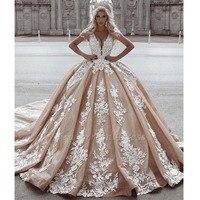 Robe De Mariee 2019 Sexy Deep V Neck Ball Gown Wedding Dress Sleeveless Appliques Long Train Beidal Wedding Gowns