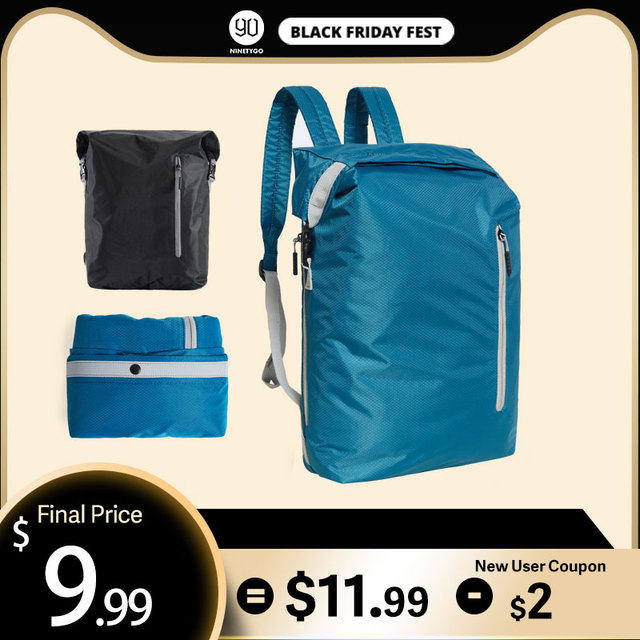 Ninetygo 90FUN軽量バックパック折りたたみバッグスポーツ旅行防水カジュアルデイパックのため女性男性 20Lブルー/黒
