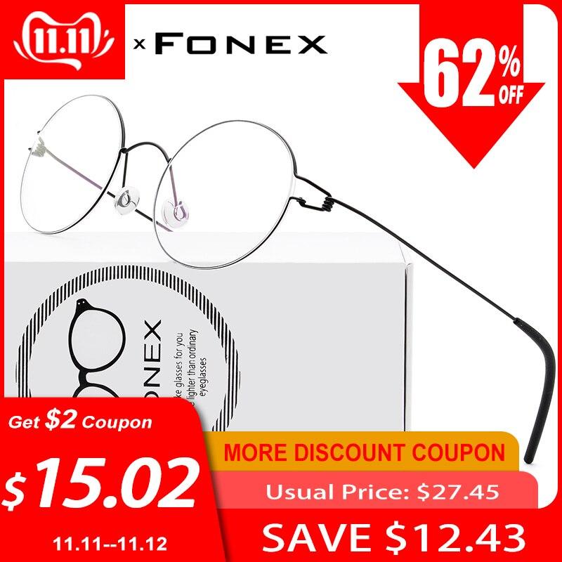 FONEX sans vis lunettes Prescription lunettes cadre femmes ronde myopie optique danemark coréen lunettes cadre hommes titane 98607