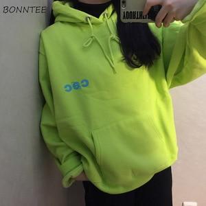 Image 1 - Hoodies Women Harajuku Plus Velvet All match Letter Printed Womens Sweatshirts Long Sleeve Hooded Korean Style Ladies Pullover