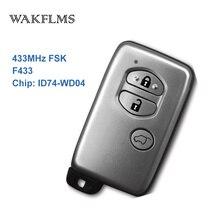 3 botões 433MHz Chip de Placa Não F433 ID74 WD04 Sliver Keyless Go/Entrada Remoto Chave Do Carro Para Toyota Prado venza 89904 73020 B74EA