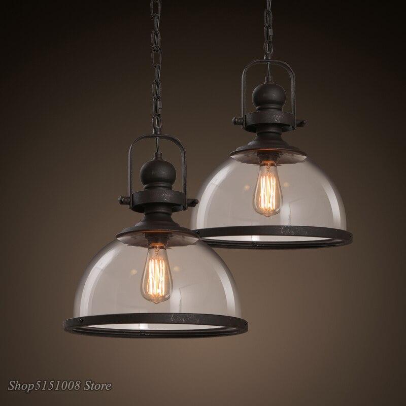 Лофт винтажные железные подвесные светильники промышленный Декор Подвесная лампа для столовой кухни дома осветительные приборы стеклянны...
