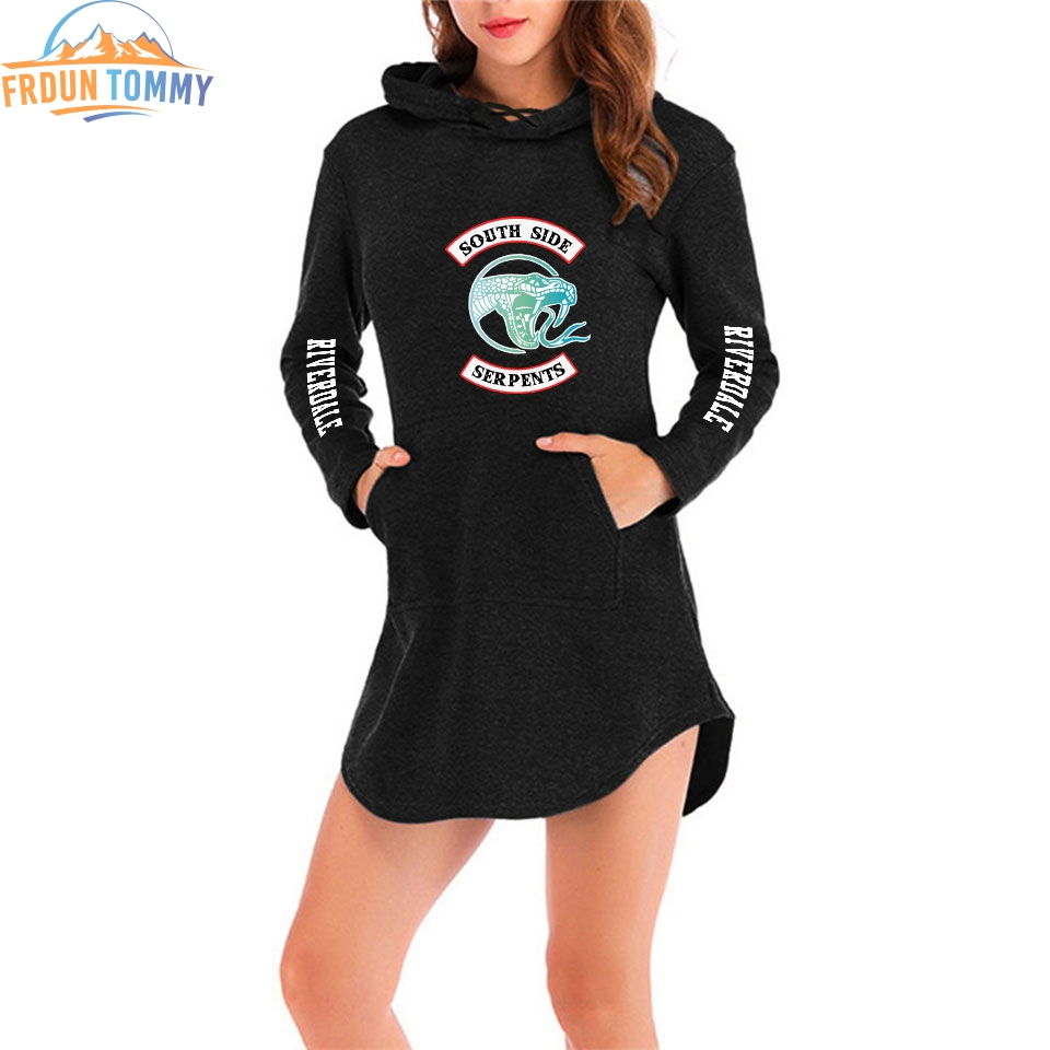 Kpop New Style Riverdale Printing Women Hoodies Dress Female Fashion Long-sleeved Dress 2019 Hot Sale Ms Hot Trend Casual Wear