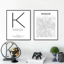 Polska mapa miasta wydruki na płótnie warszawa wrocław kołobrzeg słupsk ulica miasta mapa drogowa plakat nowoczesny artystyczny obraz obraz ozdobny