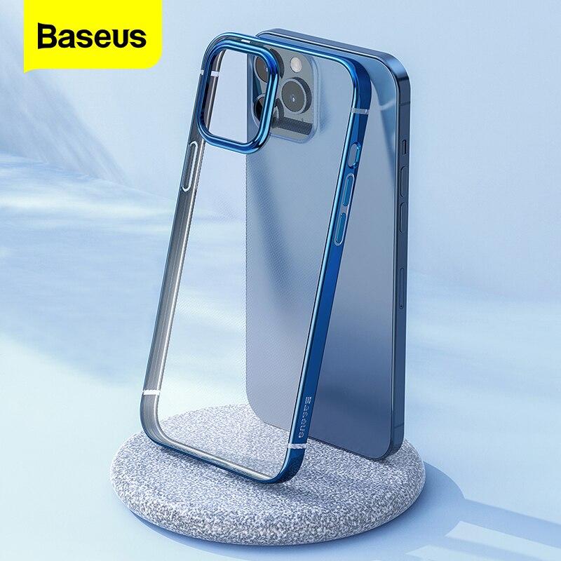 Baseus temizle telefon kılıfı için iPhone 12 Pro Max 12Max şeffaf kaplama kılıf Coque ince yumuşak TPU arka kapak için iPhone 12Pro Max