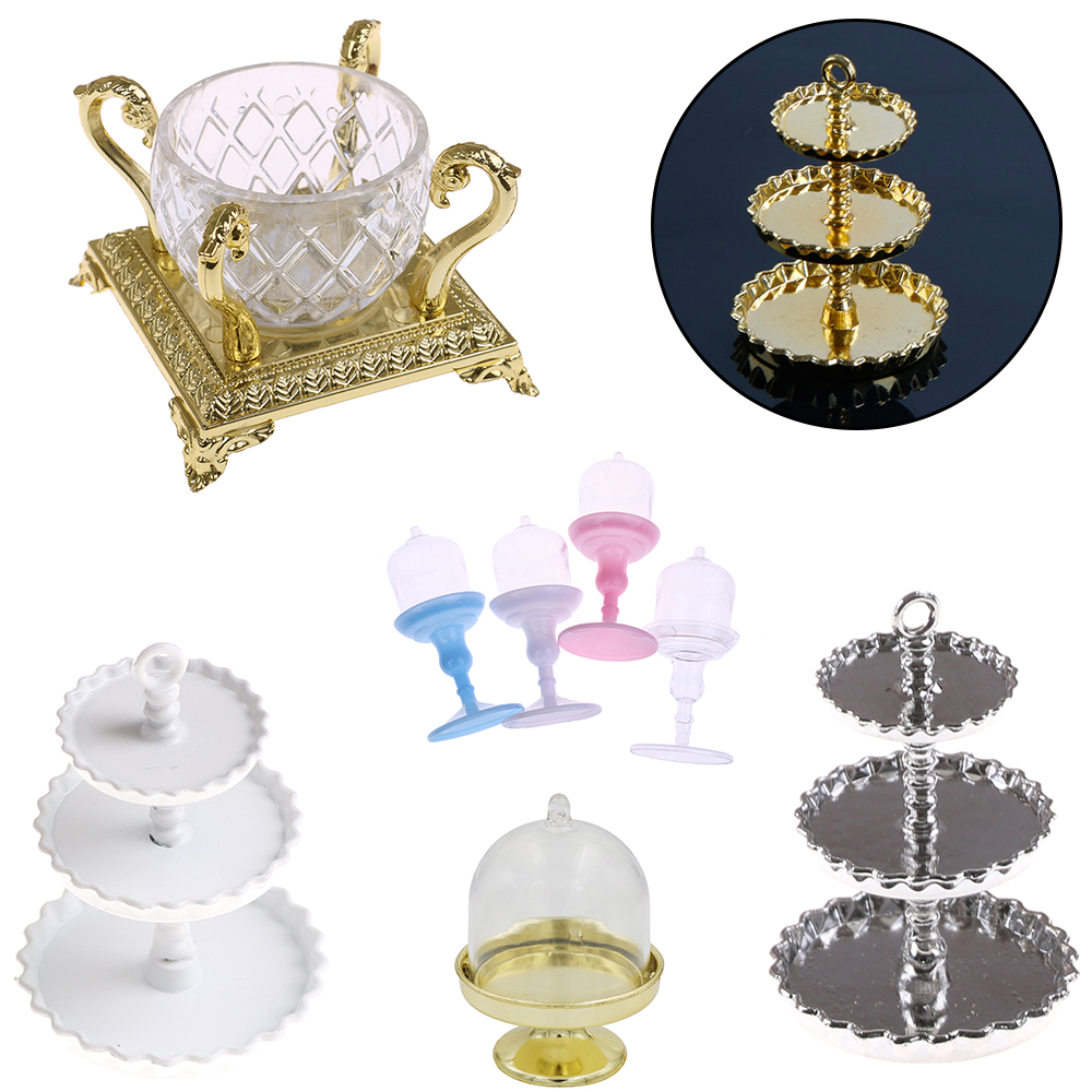3D Mini Cute Dessert Pan Cake Stand Fruit Tray Doll Kitchen Toys Miniature Food DIY Craft For Dollhouse