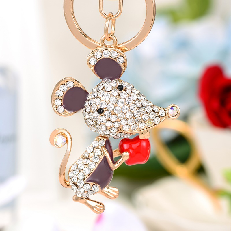 Mouse Image Design Metal Chunky Keyring in Gift Box