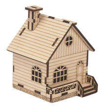 Wood DIY Small House Hand-cranked Music Box kid children gift Wood DIY Package home decorations #4a08(China)