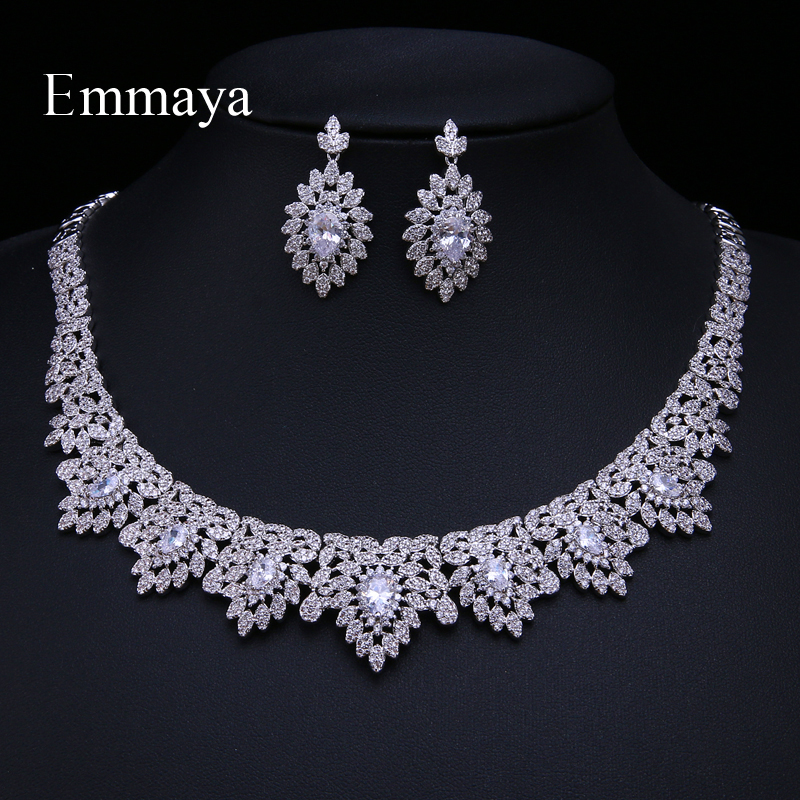 Emmaya Crystal Bridal Jewelry Sets Silver Color Round With Half Zirconia Necklace Earrings Sets for Women Wedding Jewelry Sets