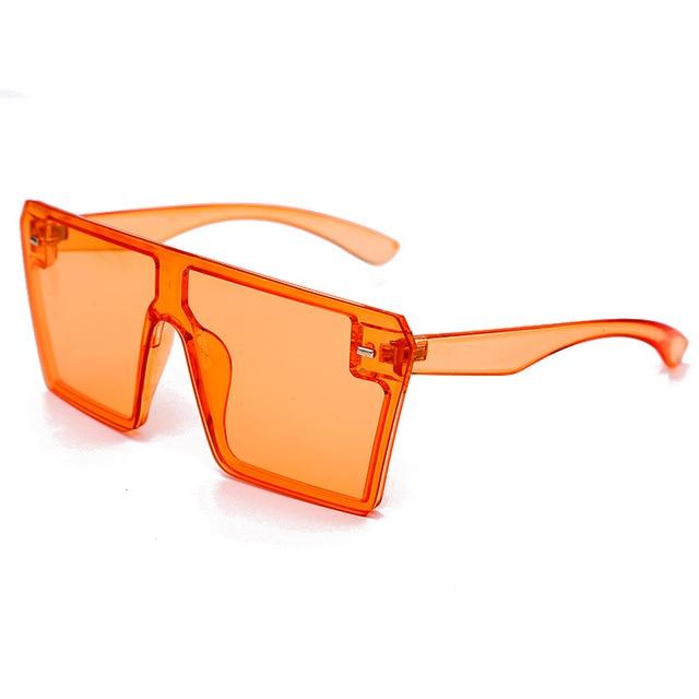 Oversized Square Sunglasses Women 2021 Luxury Brand Fashion Flat Top Red Black Clear Lens One Piece Men Gafas Shade Mirror UV400 14