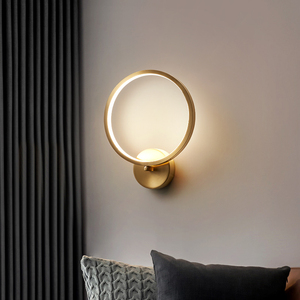 Jmzm Gold Round Lampshade Wall Lamp LED For Bedroom Bedside Decoration Background Wall Lights Nordic Translucent(China)