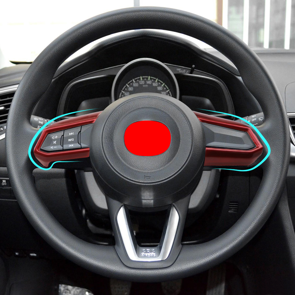 Car Steering Wheel Trim Circle Sequins Cover Sticker For <font><b>Mazda</b></font> 3 6 <font><b>CX</b></font>-3 <font><b>CX</b></font>-5 CX5 CX8 <font><b>CX</b></font> <font><b>9</b></font> Axela ATENZA <font><b>2017</b></font> - <font><b>2019</b></font> Accessories image