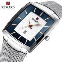 גמול כיכר גברים שעון אופנה דק חגורת רשת עמיד למים קוורץ שעון מזדמן איש עסקי נירוסטה שעוני יד