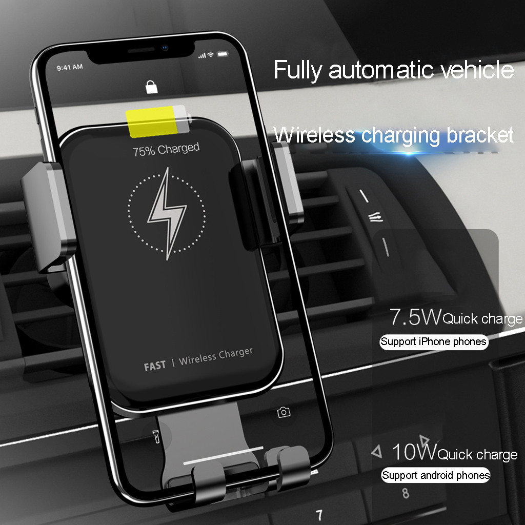 Automatic Clamping Induction Infrared Qi Wireless Charging 10W Fast Charging For Apple Iphone 8 / 8 Plus / X Samsung Note 10