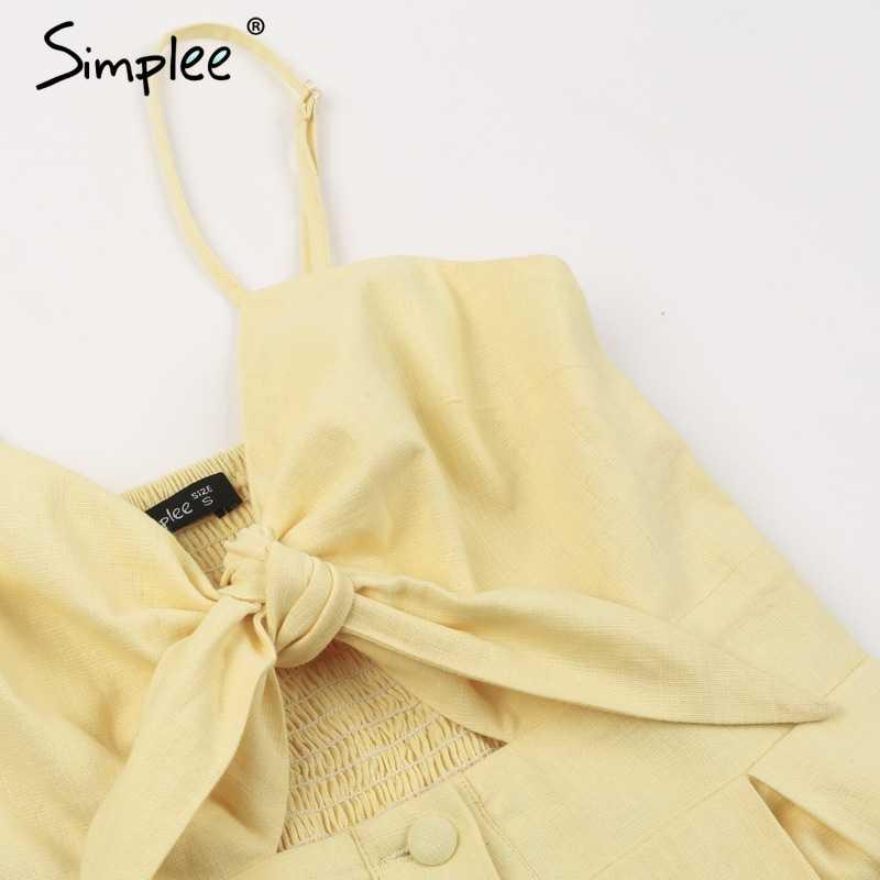 Летнее женское мини-платье Simplee, в горошек, с открытой спиной, повседневное мини-платье с V-образным вырезом и открытой спиной для вечеринок, пляжная одежда, весеннее платье