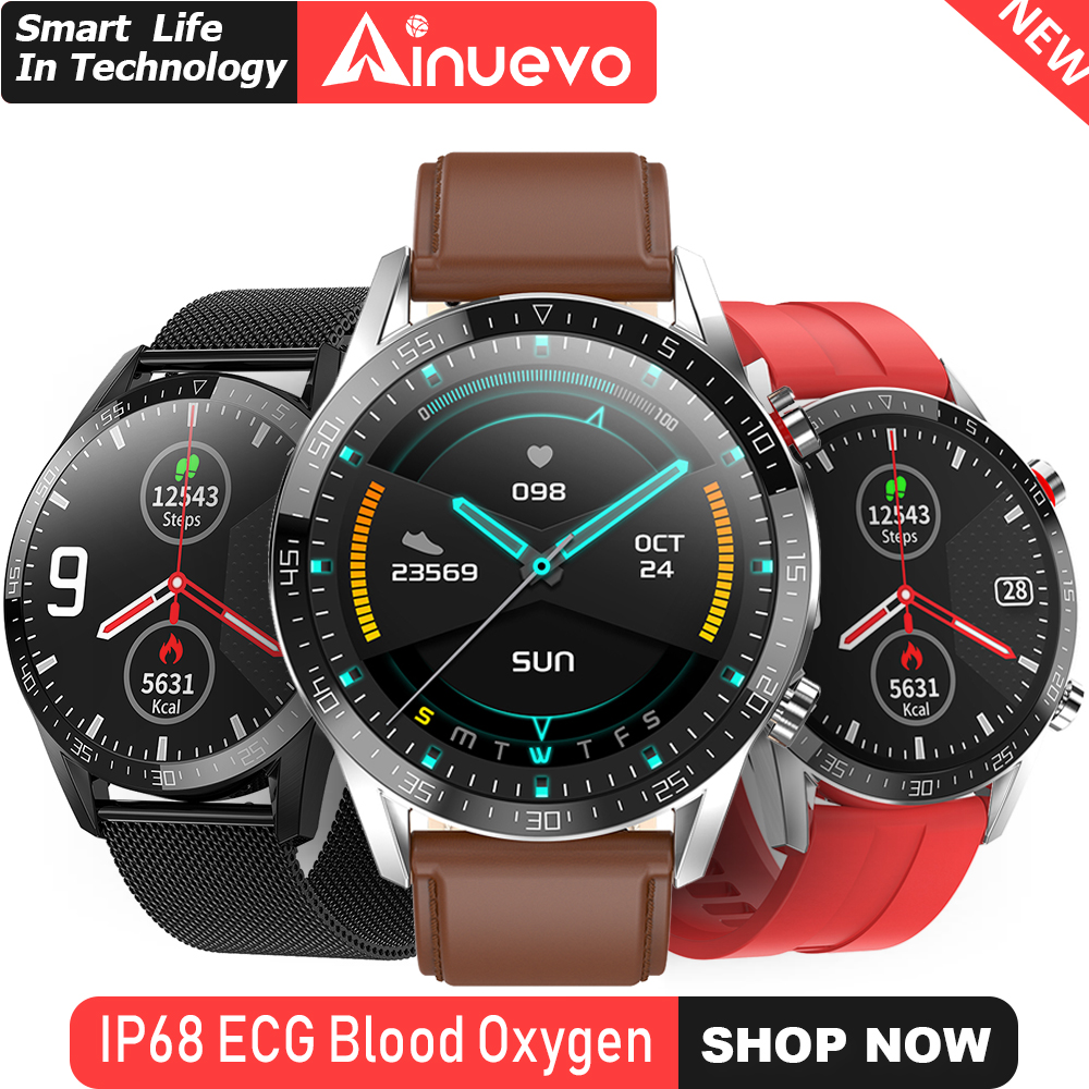 Ainuevo Smart Watch 1.3inch IP68 Waterproof Professional Sport ECG+PPG Heart Rate Blood Oxygen Pressure Monitor Smartwatch L13