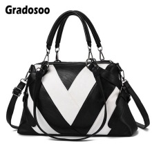 Gradosoo Panelled Design Handbags Women Brand Messenger Bags Women Leather Fashion Shoulder Bag Female Tote Crossbody Bag HMB625 hot 2018 classic trunk crossbody bag with studs panelled women split leather handbags lady bag messenger bag for female an703