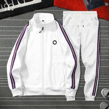 White Black Men Set Fashion 2021 Autumn Spring Brand Casual Sportswear Mens Tracksuit Sports Two Piece Striped Hoodie Pant Male 1