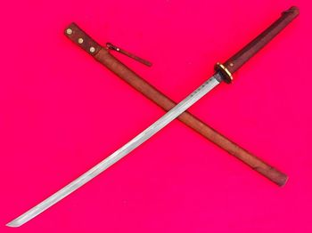 Hecho a mano militar japonés Katana falchion espada acero plegado Saber Oxhide mango vaina Full Tang