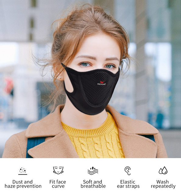 WOSAWE Washable Reusable Motorcycle Face Mask with Mesh Filter Breathable Mouth Covers Anti-dust Anti-smog Face Shield Outdoor 1