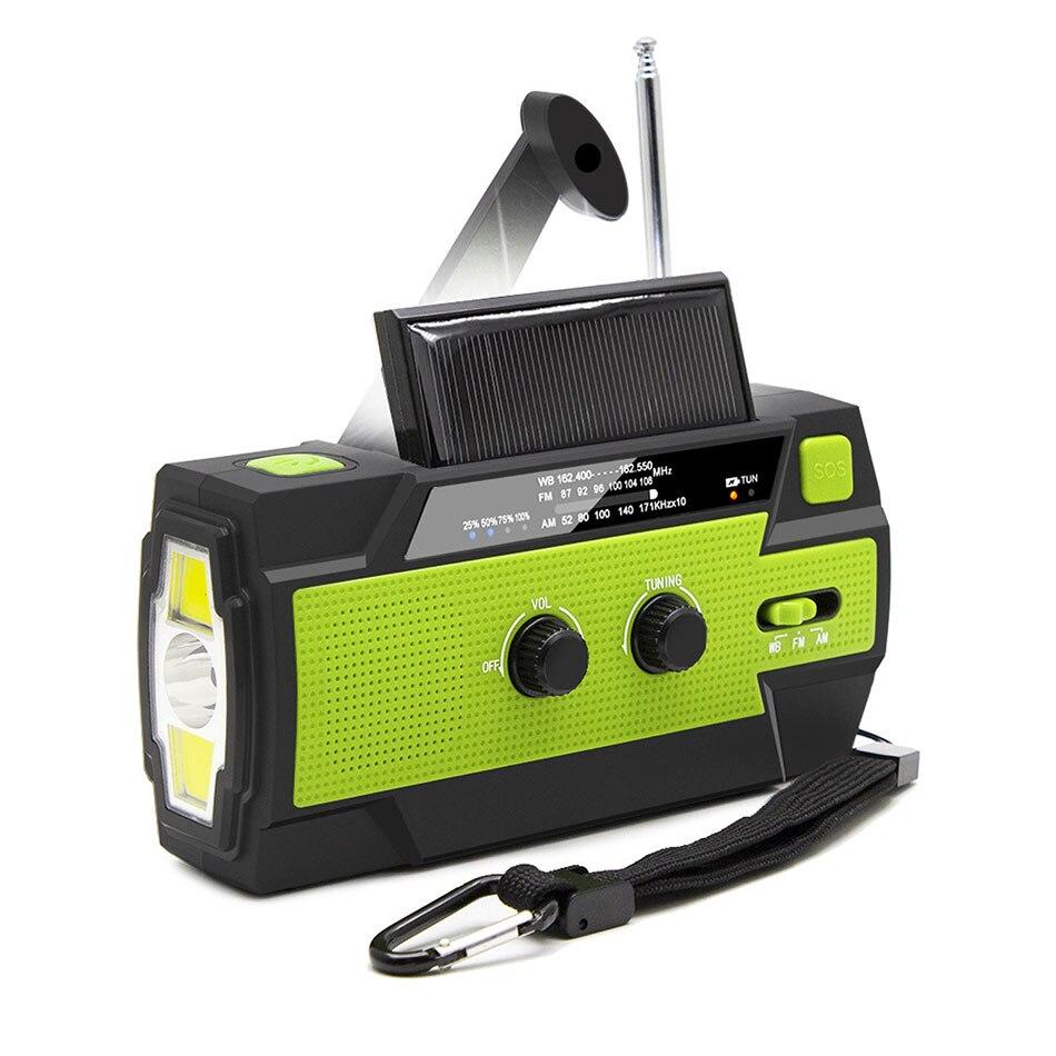 2020 аварийный радио фонарик солнечная батарея USB рукоятка питания ed радио AM/FM/WB 4000mA внешний аккумулятор фонарик IPX3 Водонепроницаемый