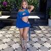 الملكي الأزرق المخملية المرأة كم طويل فستان قصير واحد الكتف فستان من الدانتيل يصل مثير الرباط Ruched نادي الحفلات 2021 Vestidos