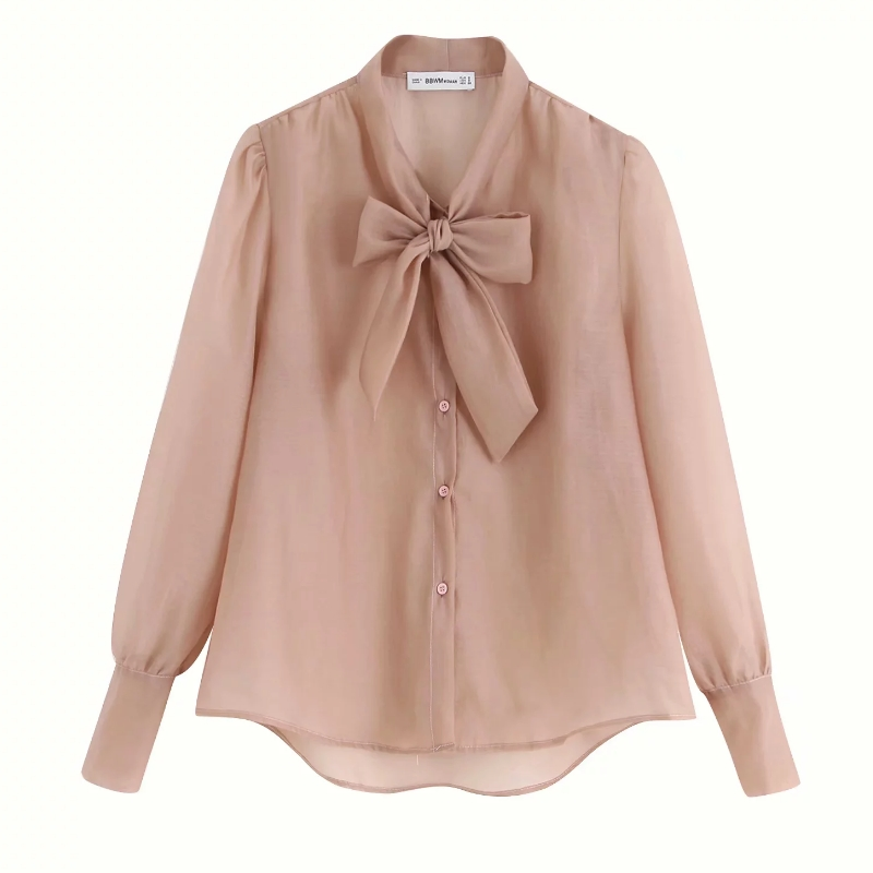 2019 Women Elegant Bow Tie Decoration Transparent Casual Organza Smock Blouse Shirts Women Long Sleeve Leisure Blusa Tops LS4026