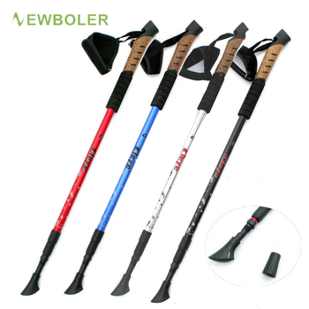 1 2Pcs Nordic Walking Sticks Telescopic Baton Trekking Poles Ultra  Hiking Walking Canes With Rubber Tips Adjustable Bands