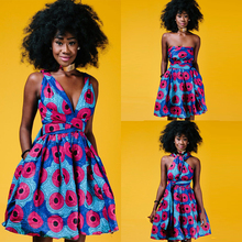 Sexy Dashiki African Dresses  For Women 2019 Summer Party Backless Tutu Vestidos Bazin Ladies Clothes