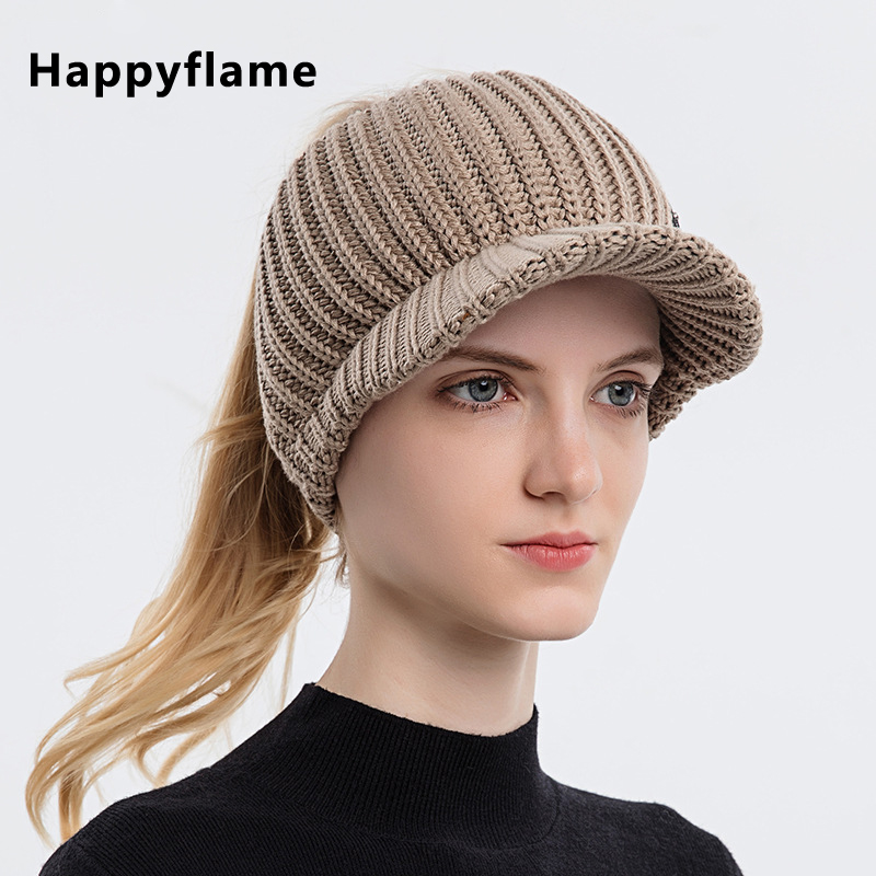New Solid Color Knitted Empty Top Hat Outdoor Sports Bundle Hair Peaked Cap Women Warm Wool Hats Casual UV Protction Sun Caps