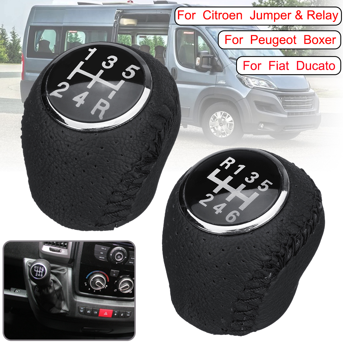 5 6 Speed Leather Gear Shift Knob Lever Shifter Handball For Citroen Jumper Relay For Fiat Ducato For Peugeot Boxer 2002-2014