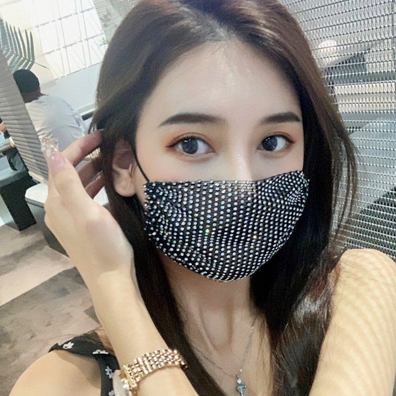 Luxury Mesh Flash Rhinestone Mouth Face Mask Accessories for Women Party Bling Crystal Safety Masks Face Decorations Jewelry Gif