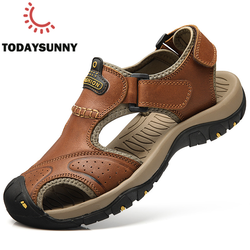Men Waterproof Sandals Genuine Leather Man Sandals Summer Men Beach Rome Sandals Fashion Outdoor Casual Sneakers Size 36-46#