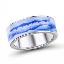 Marca única rongxing esmaltado patrón azul cielo anillos de boda para mujeres 925 anillo de compromiso relleno de plata moda femenina regalos de navidad