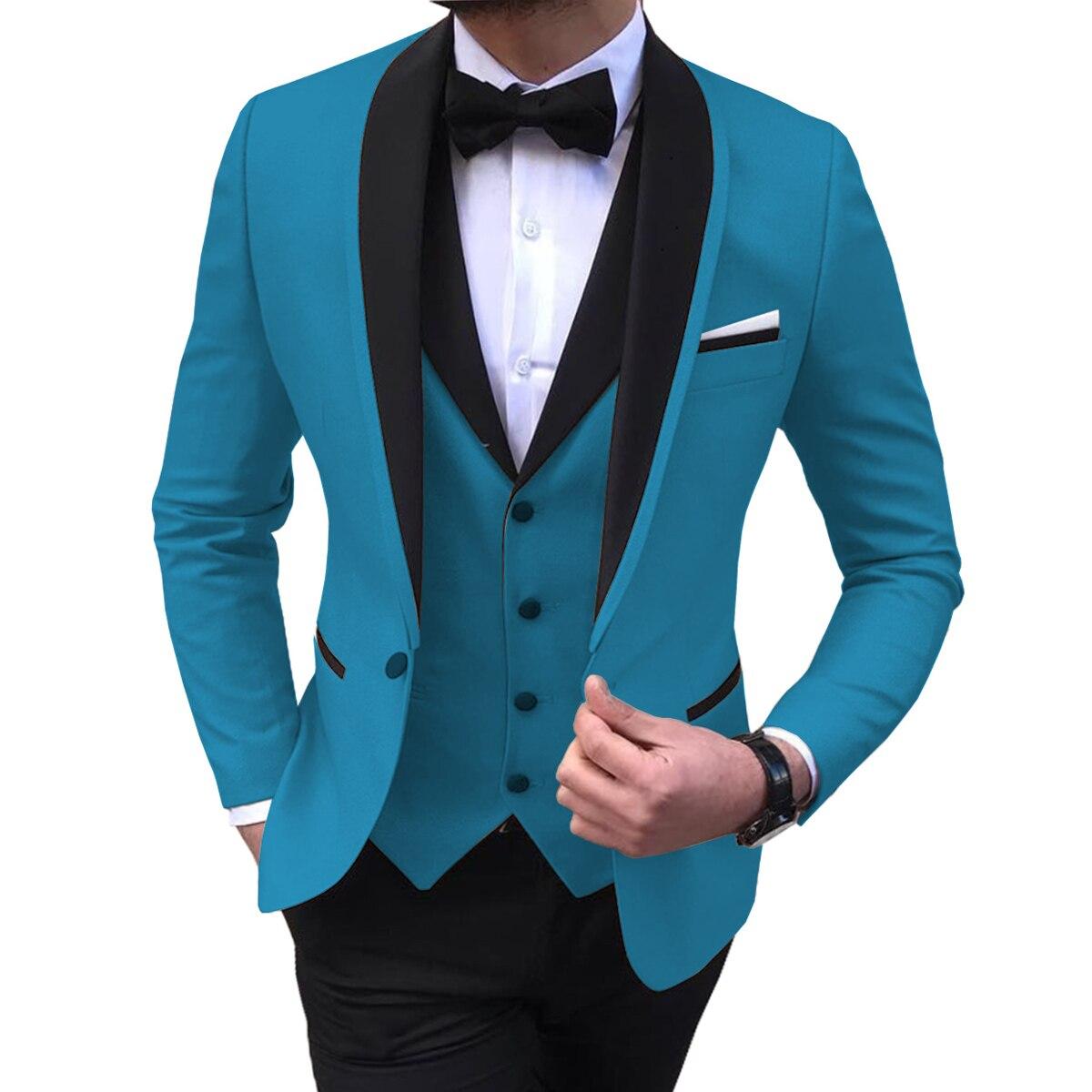 Shinny Teal Slit Mens Suits 3 Piece Black Shawl Lapel Casual Tuxedos For Wedding Groomsmen Suits Men 2020 (Blazer+Vest+Pant)